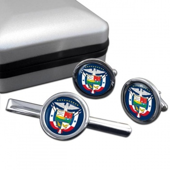 Panama Round Cufflink and Tie Clip Set