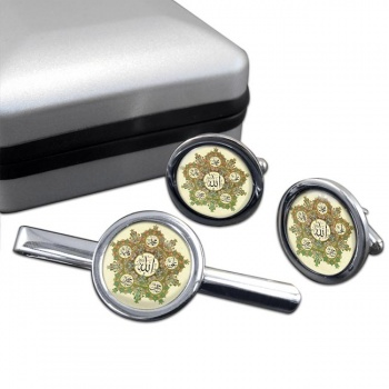 Panjetan Round Cufflink and Tie Bar Set
