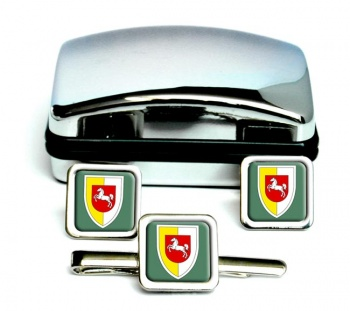 Panzerlehrbrigade 9 (German Army) Square Cufflink and Tie Clip Set