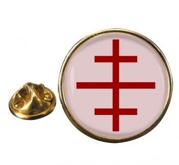 Papal Cross Round Pin Badge