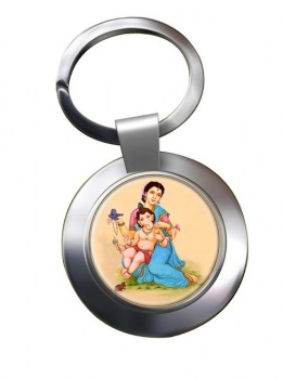 Parvati and Baby Ganesh Leather Chrome Key Ring