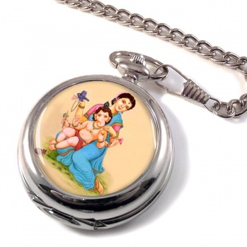 Parvati and Baby Ganesh Pocket Watch