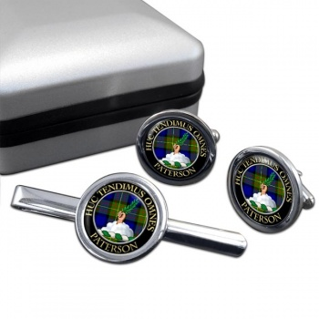 Paterson Scottish Clan Round Cufflink and Tie Clip Set