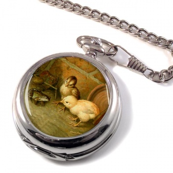 Frog and the Chicks by Frank Paton Pocket Watch