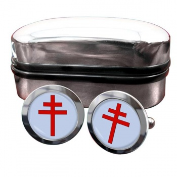Patriarchal Cross Round Cufflinks