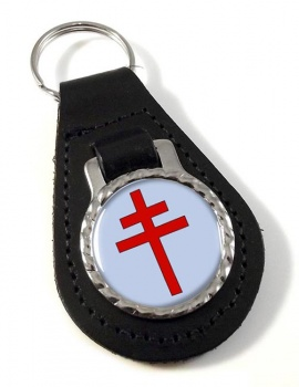 Patriarchal Cross Leather Keyfob