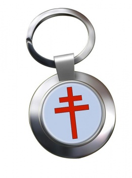Patriarchal Cross Leather Chrome Key Ring