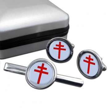 Patriarchal Cross Round Cufflink and Tie Bar Set