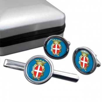 Pavia (Italy) Round Cufflink and Tie Clip Set