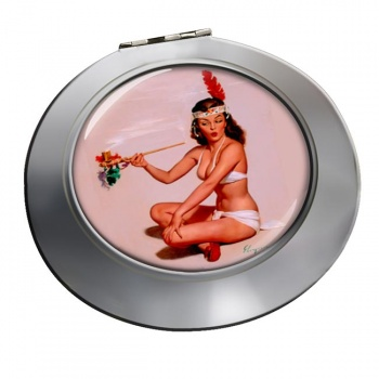 Peace Offering Pin-up Girl Round Mirror