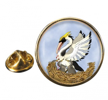 Pelican in Her Piety Round Pin Badge