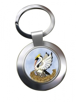 Pelican in Her Piety Leather Chrome Key Ring