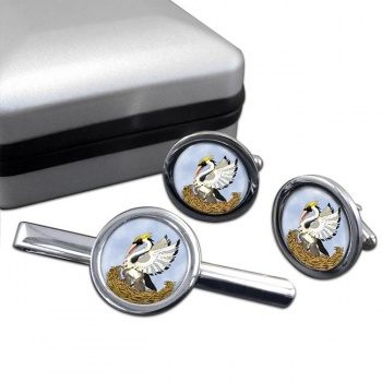 Pelican in Her Piety Round Cufflink and Tie Bar Set