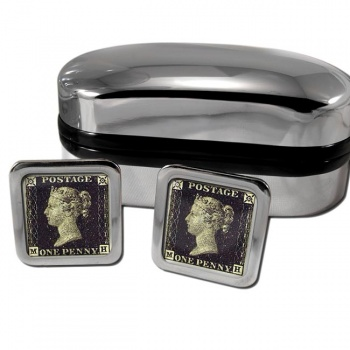 Penny Black Square Cufflinks