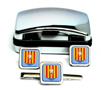 Perpignan (France) Square Cufflink and Tie Clip Set