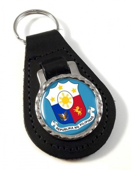 Philippines Pilipinas Crest Leather Key Fob