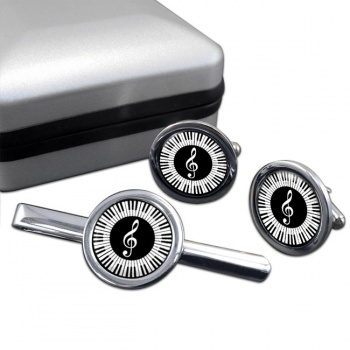 Piano Round Cufflink and Tie Clip Sert