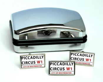 Piccadilly Circus Rectangle Cufflink and Tie Pin Set