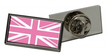 Pink Union Jack Rectangle Tie Pin