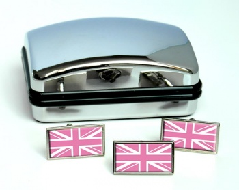 Pink Union Jack Rectangle Cufflink and Tie Pin Set