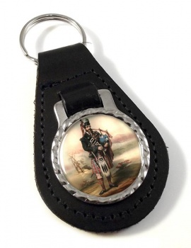 Bagpiper Leather Key Fob