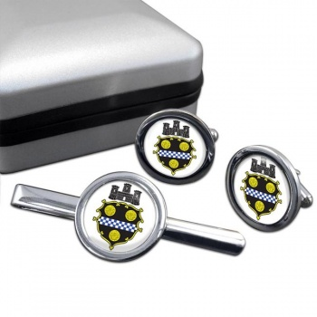 Pittsburgh PA  Round Cufflink and Tie Clip Set