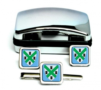 Plymouth (England) Square Cufflink and Tie Clip Set