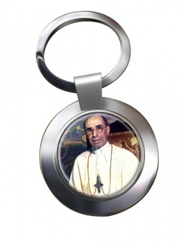 Pope Pius XII Chrome Key Ring