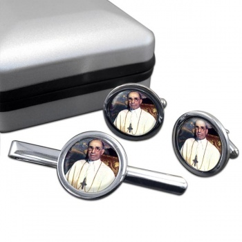 Pope Pius XII Round Cufflink and Tie Clip Set