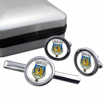 Porto (Portugal) Round Cufflink and Tie Clip Set