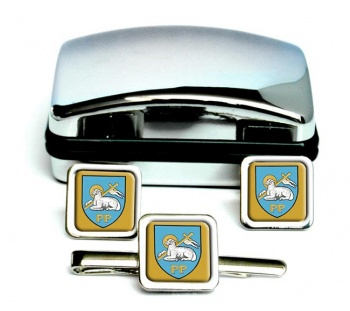 Preston (England) Square Cufflink and Tie Clip Set