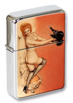 Pussy Pin-up Girl Flip Top Lighter
