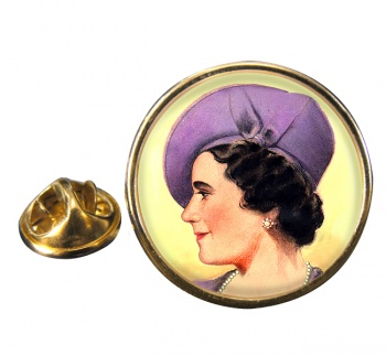 Elizabeth Queen Consort Round Pin Badge