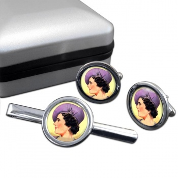 Elizabeth Queen Consort Round Cufflink and Tie Clip Set