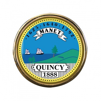 Quincy MA Round Pin Badge