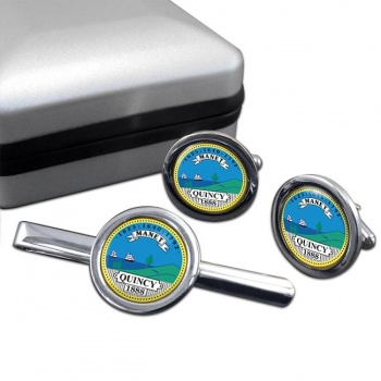 Quincy MA  Round Cufflink and Tie Clip Set