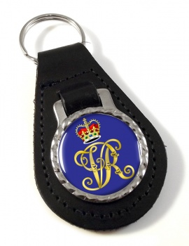 Monogram of Queen Victoria Leather Key Fob