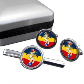 Royal Australian Electrical and Mechanical Engineers Round Cufflink and Tie Clip Set