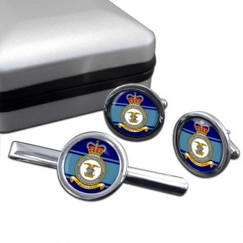 RAF Station Burtonwood Round Cufflink and Tie Clip Set