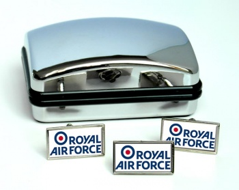 Royal Air Force Logo Rectangle Cufflink and Tie Pin Set