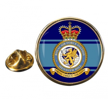 RAF Station Menwith Hill Round Pin Badge