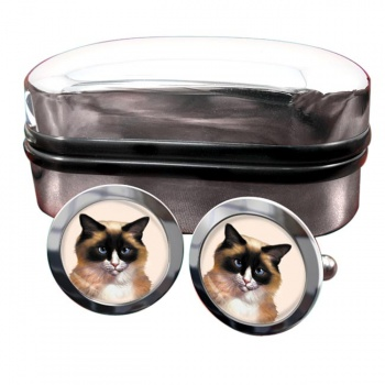 Ragdoll Cat  Round Cufflinks