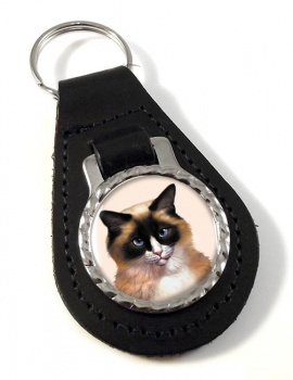 Ragdoll Cat Leather Key Fob