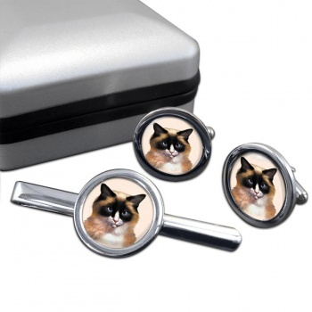 Ragdoll Cat  Cufflink and Tie Clip Set