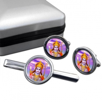 Rama Round Cufflink and Tie Bar Set