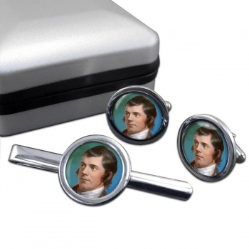 Robbie Burns Round Cufflink and Tie Clip Set
