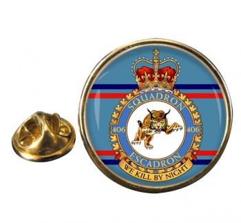 406 Squadron RCAF Round Pin Badge