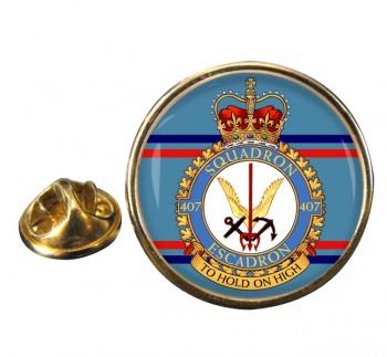 407 Squadron RCAF Round Pin Badge