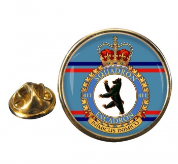 411 Squadron RCAF Round Pin Badge