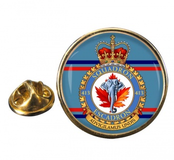 413 Squadron RCAF Round Pin Badge